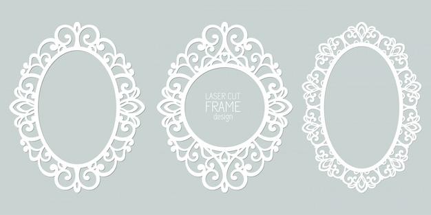 まんじ、飾り、ビンテージフレームと抽象的な楕円形フレームのセット。