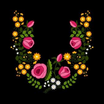 葉、つぼみ、春の花とバラの刺繍。
