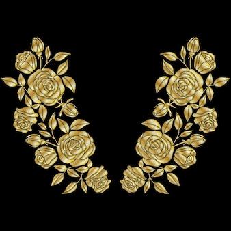 ゴールデンローズ刺繍ネックライン。