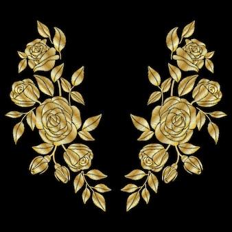 Золотая роза с вышивкой на шее.
