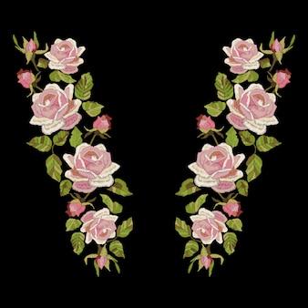 Розы вышивка изолированные