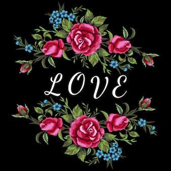 赤いバラと青い花の刺繍。愛の碑文
