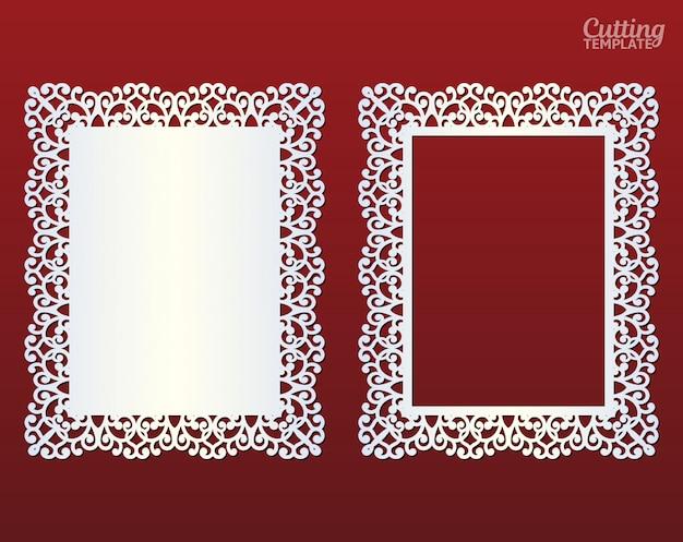 レーザーカットフレーム。まんじ、ビンテージ飾りと抽象的なフレーム。