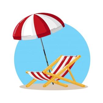 Подробный пляжный шезлонг с полосатой красно-белой тканью и пляжным зонтиком над ним