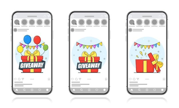 Раздавать. бесплатная маркетинговая концепция. подарочный розыгрыш с шариками. шаблон экрана для мобильного смартфона.