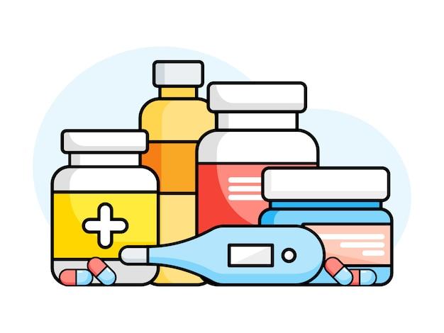 Комплект бутылок медицины с ярлыками и пилюльками на белой предпосылке. лекарства, таблетки, витаминные капсулы, термометр. иллюстрация в плоском стиле.