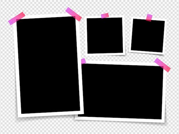 透明な背景に分離されたフォトフレーム。粘着テープ上のフレームフォトフレームのレイアウト。テンプレート写真デザイン。図