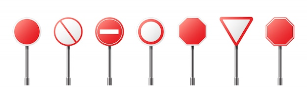 分離された道路警告標識のクリエイティブイラスト。アートデザイン現実的な空白の交通規制テンプレート。抽象的な概念グラフィック空のバナー要素