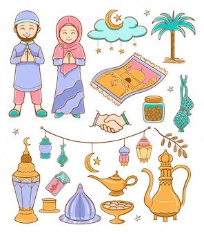 Каракули рамадан карим цветная иллюстрация