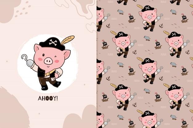 Свинья пиратский узор