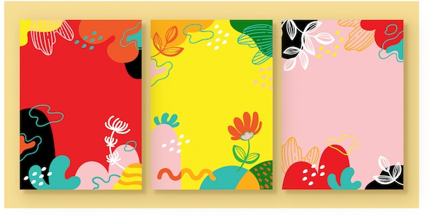 花背景セットのイラストベクターグラフィック