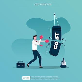 ビジネスマンのキャラクターは、「コスト」という言葉が入ったサンドバッグをほとんどパンチしません。
