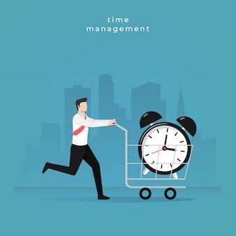 ビジネスマンのキャラクターは、時間管理の図の時計をショップします。