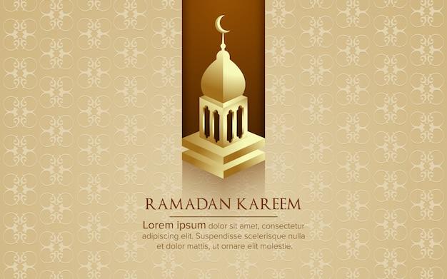 モスクの背景を持つラマダンカリームグリーティングカードベクトル