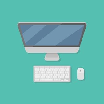 Настольный персональный компьютер с монитором, клавиатурой и мышью в плоском стиле.