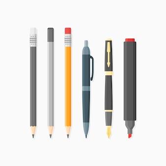 書き込みおよび描画アイテムのセット。ボールペン、ペン先、鉛筆、マーカー。フラットスタイル