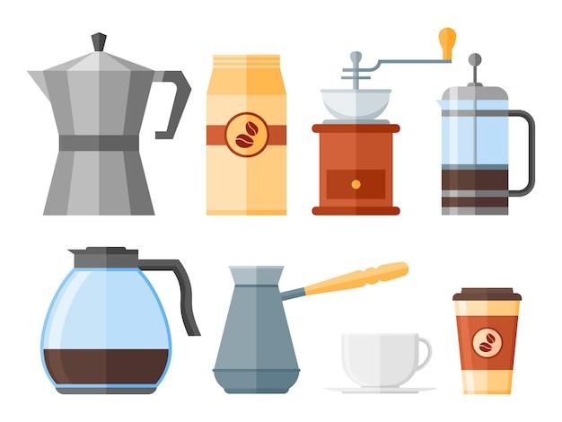 白い背景で隔離のコーヒー要素のセット。フレンチプレス、コーヒーメーカー、カップ、ポット、グラインダー、包装。フラットスタイルのアイコン。