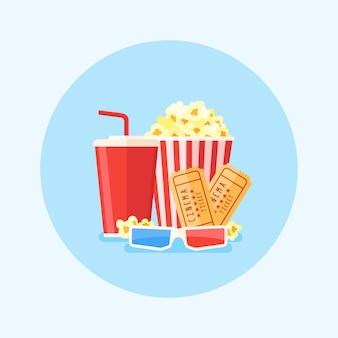 Иллюстрация фильма с ведром попкорна, соды, билеты и стаканы