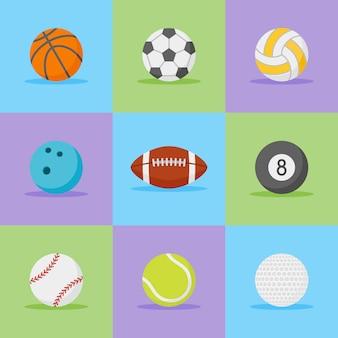 Набор спортивных мячей плоский стиль иконок.