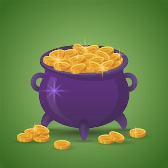 ゴールドコインのレプラコーンポット。聖パトリックの日の要素。
