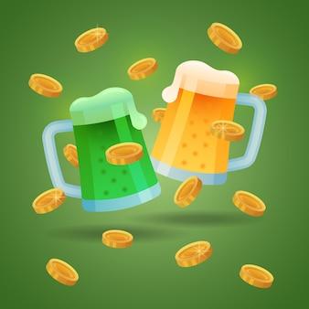 Две кружки с пивом с золотыми монетами. день святого патрика