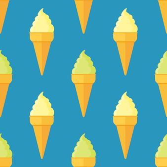 アイスクリームコーンとのシームレスなパターン。