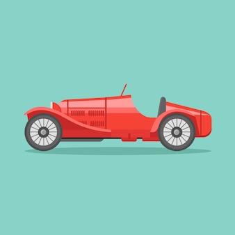 レトロなスポーツレーシングカーフラットスタイルアイコンイラスト。