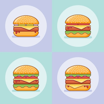 フラットラインスタイルのハンバーガーのセットです。