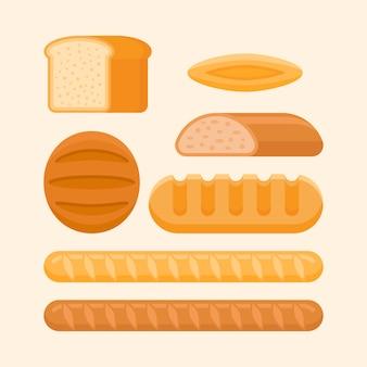 Ржаной и пшеничный хлеб, батон, французский багет, булочка в плоском стиле.