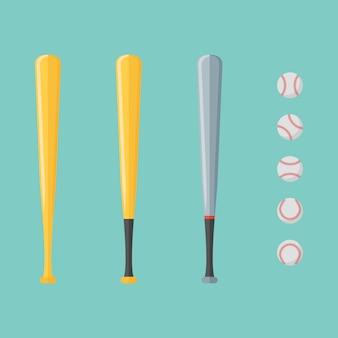 Набор бейсбола и летучих мышей изолированы. плоский стиль иллюстрации