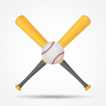 Скрещенные бейсбольные биты и мяч изолированных иллюстрация.