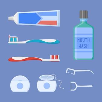 歯科用クリーニングツールのセット。フラットスタイルの歯磨き粉、歯ブラシ、うがい薬、デンタルフロス、つまようじ