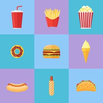 ファーストフードフラットアイコンのセット。ドーナツ、ハンバーガー、フライドポテト、ポップコーン、ソーダテイクアウト、アイスクリーム、ホットドッグ、タコス。