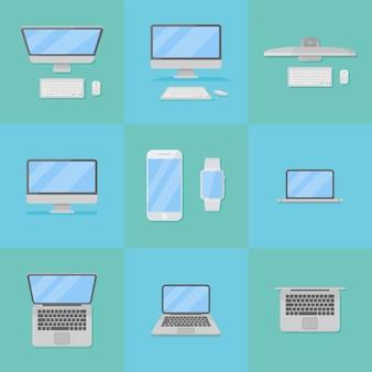 電子コンピューターデバイスフラットスタイルアイコンのセット。デスクトップおよびラップトップのパーソナルコンピューターとスマートフォン