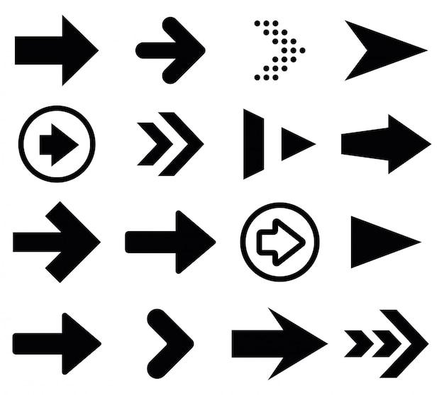 Установлены черные символы стрелы. векторная иллюстрация