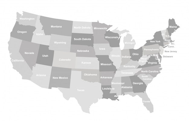 Серая карта сша с государствами.
