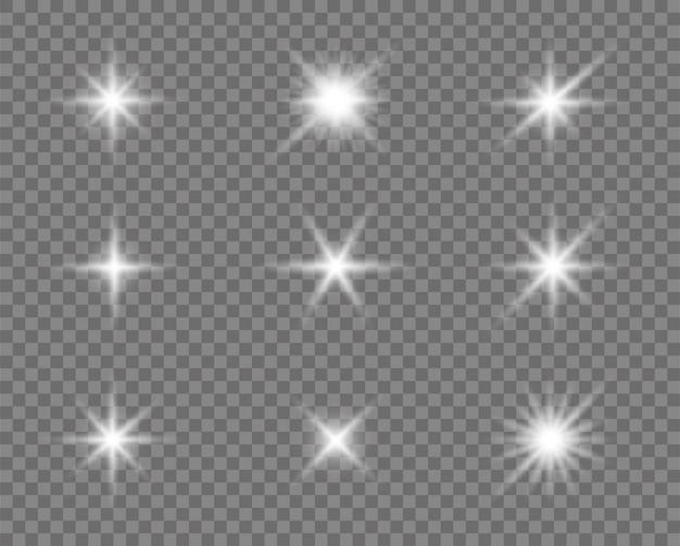 Светящийся эффект света, блики, солнце и звезды.