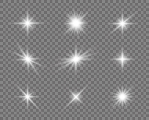 白熱灯の効果、フレア、太陽、星のセット。