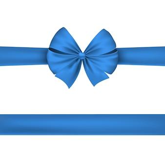 Голубая лента изолированная на белой предпосылке. красивый праздничный бант.
