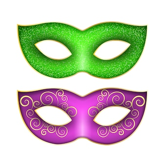 マルディグラのカーニバルのマスクのセット。