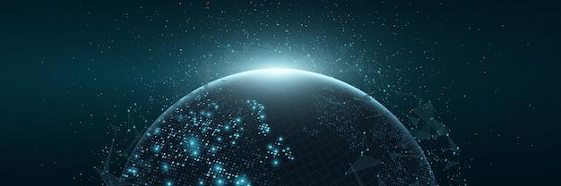 未来の惑星地球。正方形のドットの熱烈なマップ。グローバルネットワーク接続。
