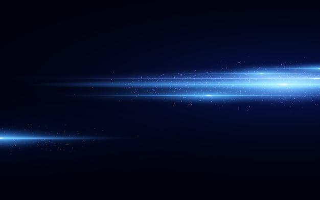 Стильный синий световой эффект, изолированные на черном фоне. синие блестит. светящиеся линии с блестками. затуманенное свет тропы.
