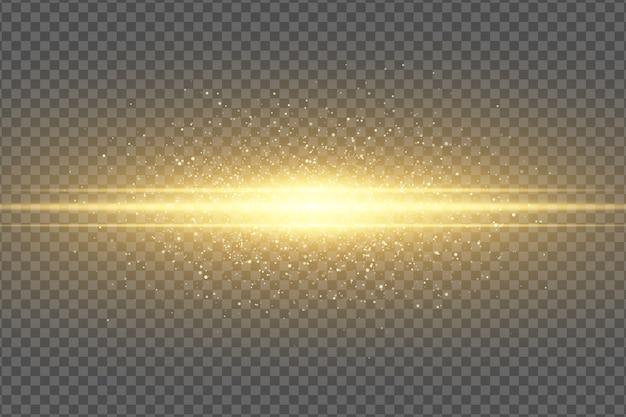 透明な背景に抽象的な魔法のスタイリッシュな光の効果。ゴールデンフラッシュ。明るい飛行ダスト。きらめく粒子が飛んでいます。