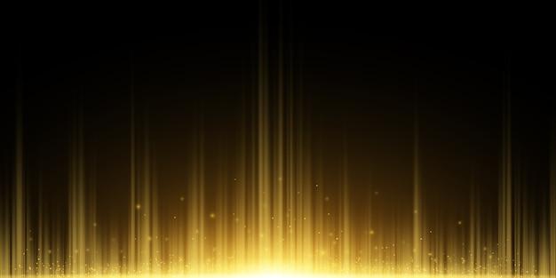 黄金色の光線の抽象的な背景。光の効果。魔法の塵を飛んでいます。暗闇の中で黄金の輝き。