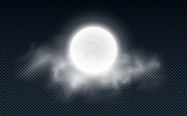 透明で分離された雲と現実的な満月