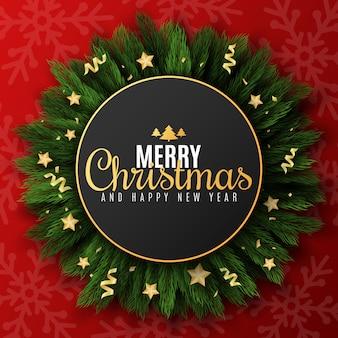 Праздничный баннер для веселого рождества и счастливого нового года. ель с золотыми звездами и конфетти. узор из снежинок. поздравительная открытка красивая надпись.