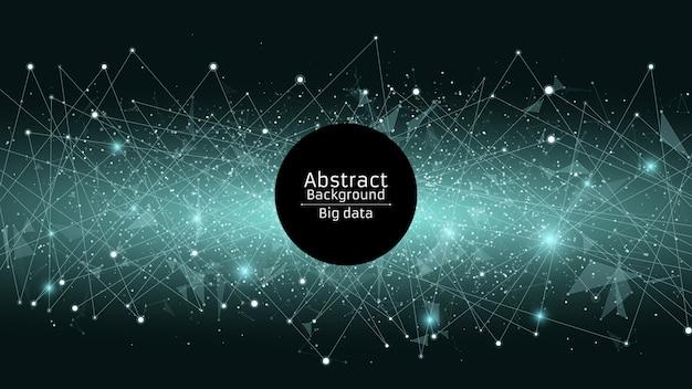 抽象的な未来的な背景。三角形とドットの接続。