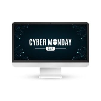 Современный жк-монитор на белом фоне с надписью кибер понедельник продажи.