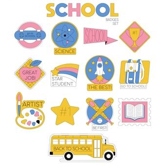 学校に戻る学生のためのバッジのコレクションのセットは、物資のオブジェクトと生徒服。