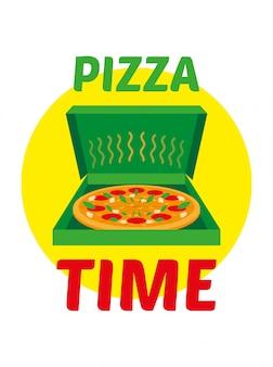 Плоская эмблема символа с зеленой открытой коробкой с горячей и аппетитной большой пиццей. пицца время надпись. современный стиль иллюстрации мультфильм дизайн изолированных на белом фоне еда пицца концепция доставки